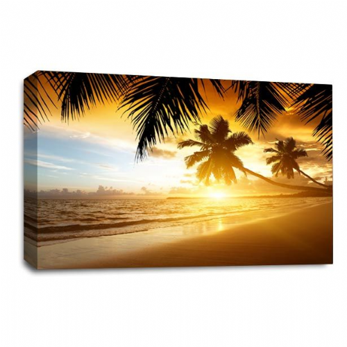 Sunset Tropical Wall Art Picture Beach Sand Palm Trees Print